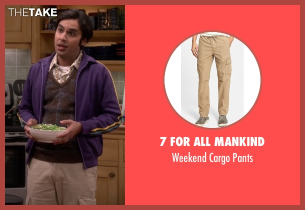 7 For All Mankind beige pants from The Big Bang Theory seen with Raj Koothrappali (Kunal Nayyar)
