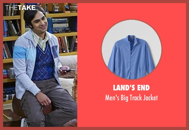 Land's End blue jacket from The Big Bang Theory seen with Raj Koothrappali (Kunal Nayyar)