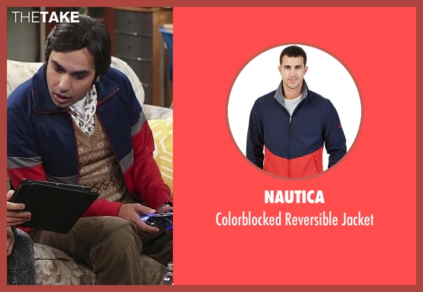 Nautica blue jacket from The Big Bang Theory seen with Raj Koothrappali (Kunal Nayyar)