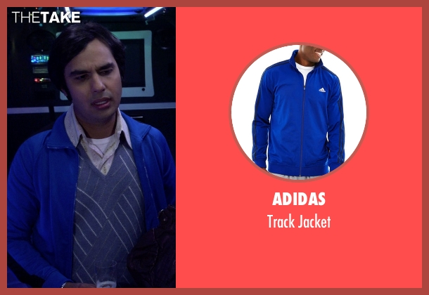 Adidas blue jacket from The Big Bang Theory seen with Raj Koothrappali (Kunal Nayyar)