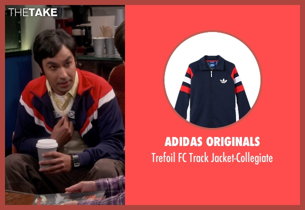 Adidas Originals blue jacket-collegiate from The Big Bang Theory seen with Raj Koothrappali (Kunal Nayyar)