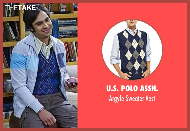 U.s. Polo Assn. blue vest from The Big Bang Theory seen with Raj Koothrappali (Kunal Nayyar)