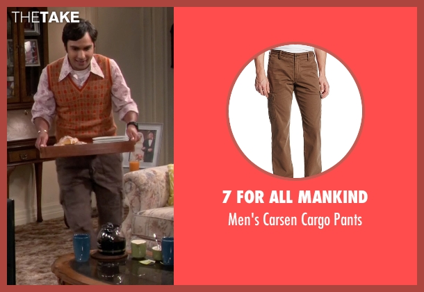 7 For All Mankind brown pants from The Big Bang Theory seen with Raj Koothrappali (Kunal Nayyar)