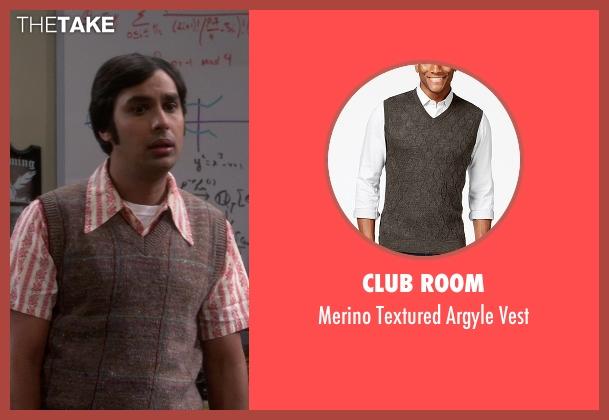 Club Room brown vest from The Big Bang Theory seen with Raj Koothrappali (Kunal Nayyar)