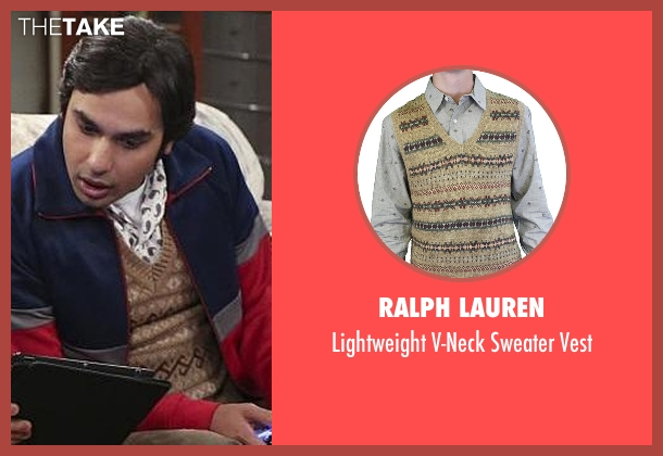 Ralph Lauren brown vest from The Big Bang Theory seen with Raj Koothrappali (Kunal Nayyar)