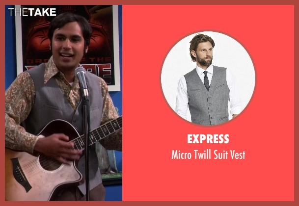 Express gray vest from The Big Bang Theory seen with Raj Koothrappali (Kunal Nayyar)