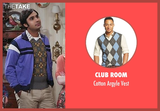 Club Room gray vest from The Big Bang Theory seen with Raj Koothrappali (Kunal Nayyar)