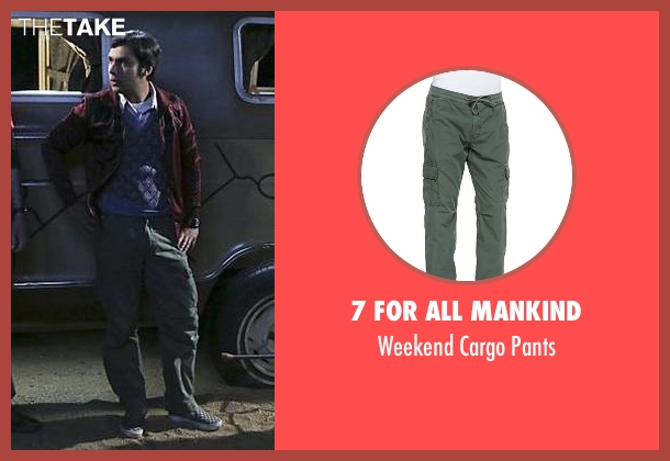 7 For All Mankind green pants from The Big Bang Theory seen with Raj Koothrappali (Kunal Nayyar)