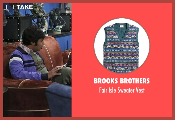 Brooks Brothers green vest from The Big Bang Theory seen with Raj Koothrappali (Kunal Nayyar)