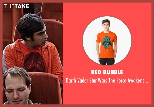 Red Bubble orange tee from The Big Bang Theory seen with Raj Koothrappali (Kunal Nayyar)