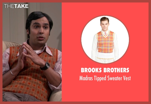 Brooks Brothers orange vest from The Big Bang Theory seen with Raj Koothrappali (Kunal Nayyar)