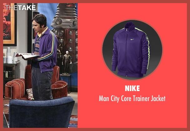 Nike purple jacket from The Big Bang Theory seen with Raj Koothrappali (Kunal Nayyar)