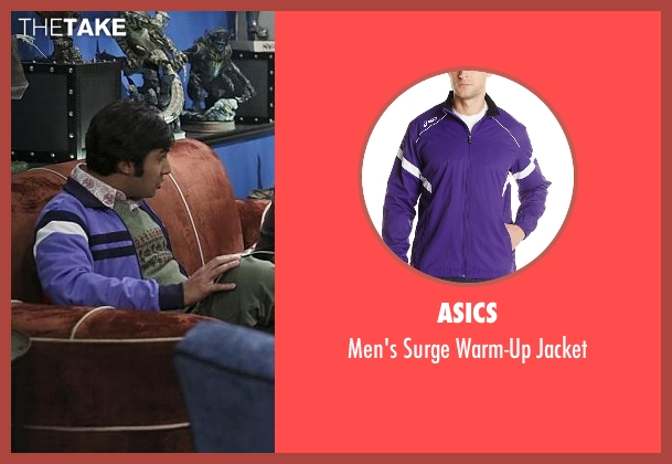 Asics purple jacket from The Big Bang Theory seen with Raj Koothrappali (Kunal Nayyar)