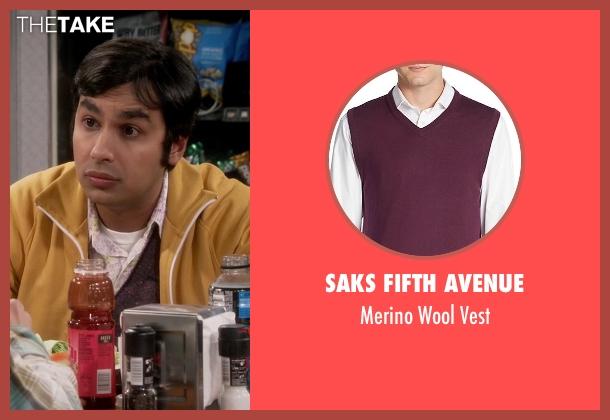 Saks Fifth Avenue purple vest from The Big Bang Theory seen with Raj Koothrappali (Kunal Nayyar)