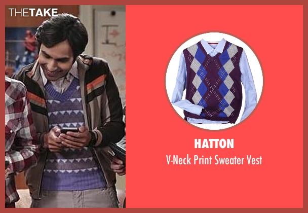 Hatton purple vest from The Big Bang Theory seen with Raj Koothrappali (Kunal Nayyar)