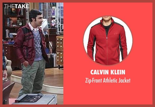 Calvin Klein red jacket from The Big Bang Theory seen with Raj Koothrappali (Kunal Nayyar)