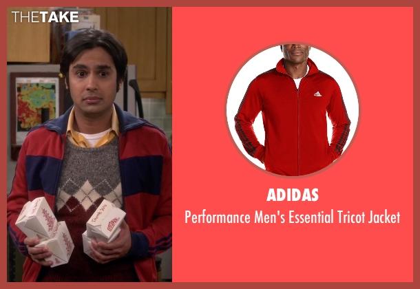 Adidas red jacket from The Big Bang Theory seen with Raj Koothrappali (Kunal Nayyar)