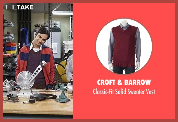 Croft & Barrow red vest from The Big Bang Theory seen with Raj Koothrappali (Kunal Nayyar)