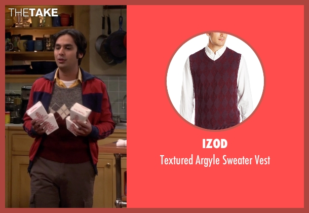 Izod red vest from The Big Bang Theory seen with Raj Koothrappali (Kunal Nayyar)
