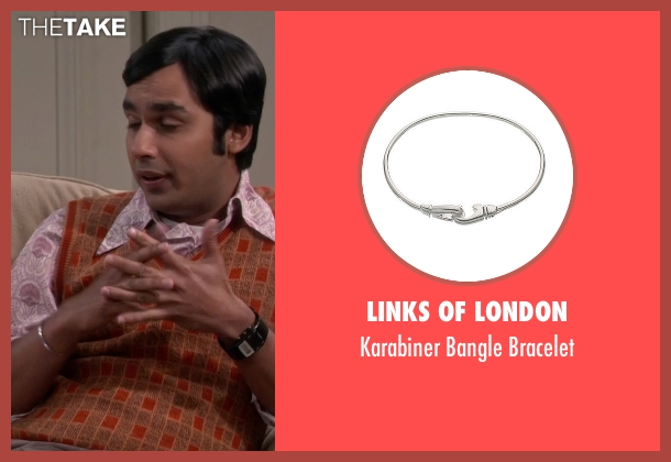Links of London silver bracelet from The Big Bang Theory seen with Raj Koothrappali (Kunal Nayyar)