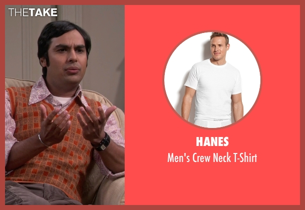 Hanes white t-shirt from The Big Bang Theory seen with Raj Koothrappali (Kunal Nayyar)