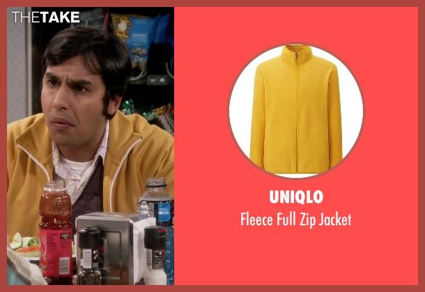Uniqlo yellow jacket from The Big Bang Theory seen with Raj Koothrappali (Kunal Nayyar)