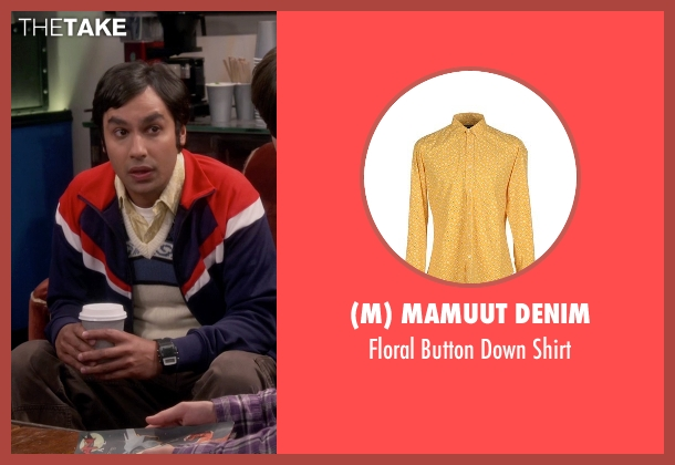 (M) Mamuut Denim yellow shirt from The Big Bang Theory seen with Raj Koothrappali (Kunal Nayyar)