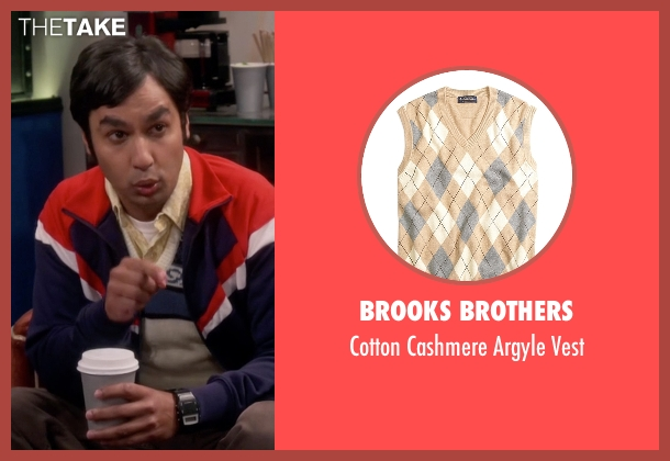 Brooks Brothers yellow vest from The Big Bang Theory seen with Raj Koothrappali (Kunal Nayyar)
