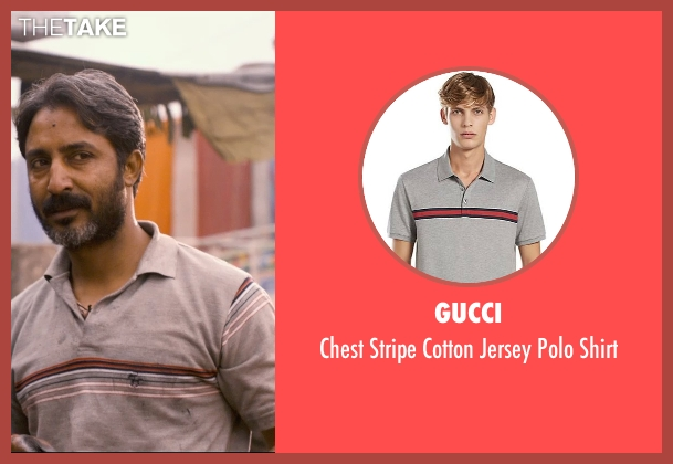 Gucci gray shirt from The Second Best Exotic Marigold Hotel seen with Rajesh Tailang (Babul)