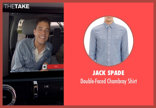 Jack Spade blue shirt from Need for Speed seen with Rami Malek (Finn)