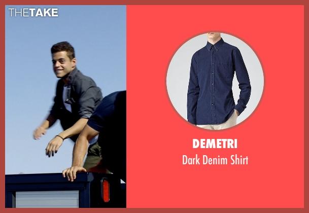 Demetri blue shirt from Need for Speed seen with Rami Malek (Finn)