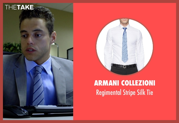 Armani Collezioni blue tie from Need for Speed seen with Rami Malek (Finn)