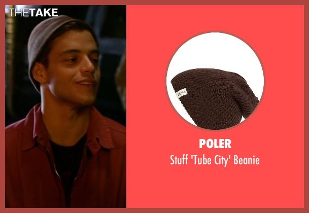 Poler brown beanie from Need for Speed seen with Rami Malek (Finn)