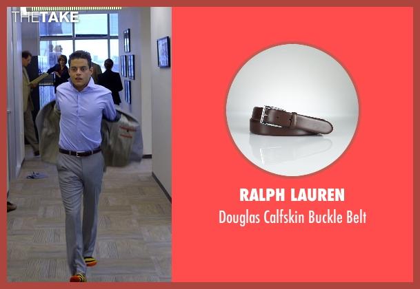 Ralph Lauren brown belt from Need for Speed seen with Rami Malek (Finn)