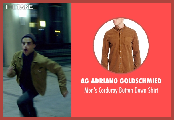 AG Adriano Goldschmied brown shirt from Need for Speed seen with Rami Malek (Finn)