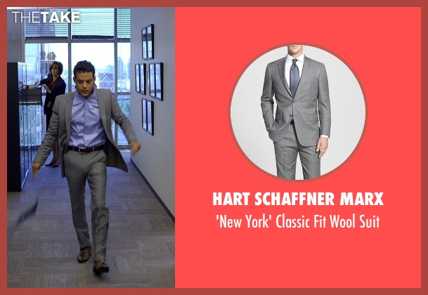 Hart Schaffner Marx gray suit from Need for Speed seen with Rami Malek (Finn)