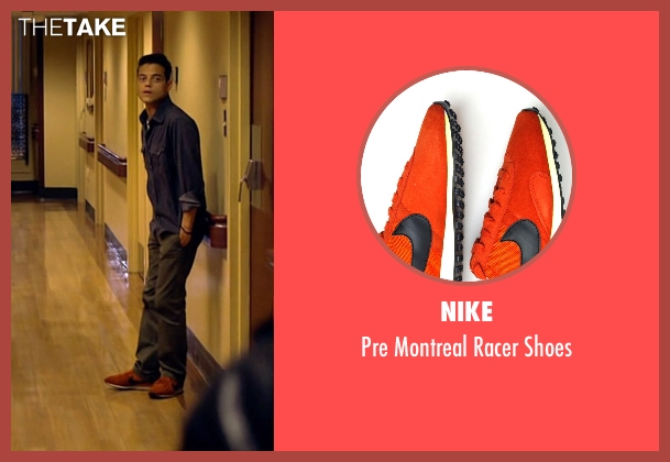 Nike orange shoes from Need for Speed seen with Rami Malek (Finn)