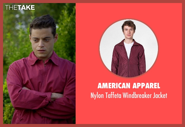 American Apparel red jacket from Need for Speed seen with Rami Malek (Finn)