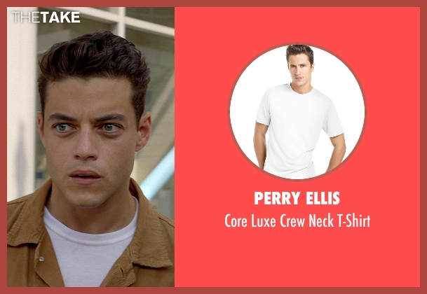 Perry Ellis white t-shirt from Need for Speed seen with Rami Malek (Finn)