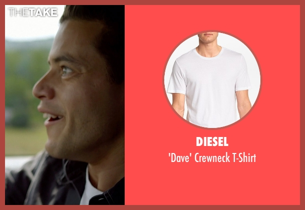 Diesel white t-shirt from Need for Speed seen with Rami Malek (Finn)
