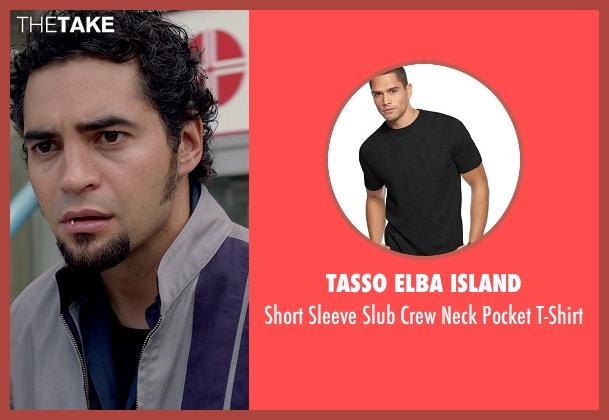 Tasso Elba Island black t-shirt from Need for Speed seen with Ramon Rodriguez (Joe Peck)