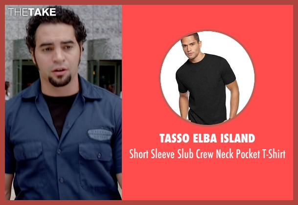 Tasso Elba Island black t-shirt from Need for Speed seen with Ramon Rodriguez (Joe Peck)