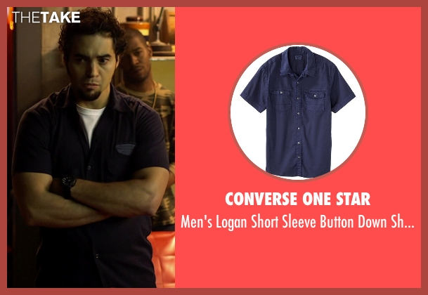 Converse One Star blue shirt from Need for Speed seen with Ramon Rodriguez (Joe Peck)
