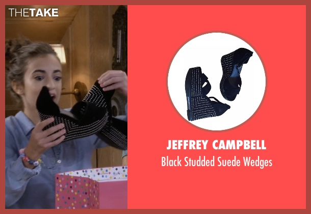 Jeffrey Campbell black wedges from Fuller House seen with Ramona Gibbler (Soni Bringas)