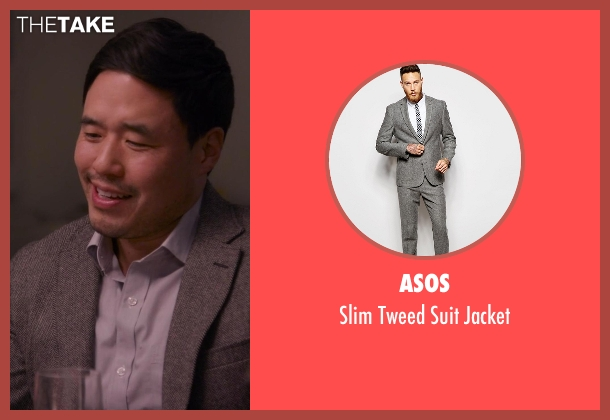 Asos gray jacket from Chelsea seen with Randall Park