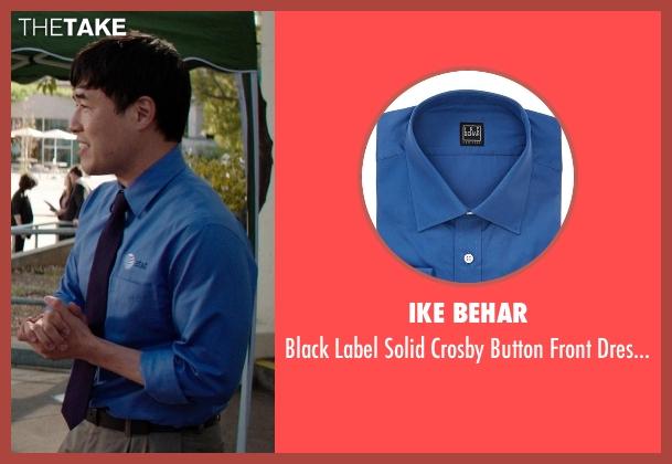 Ike Behar blue shirt from Neighbors seen with Randall Park (Rep)