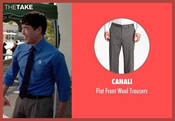 Canali gray trousers from Neighbors seen with Randall Park (Rep)