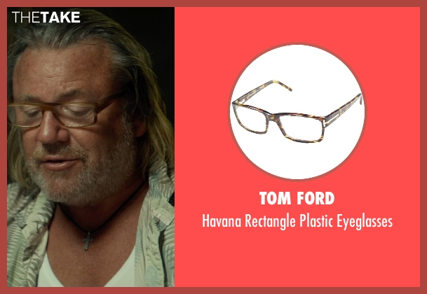 Tom Ford brown eyeglasses from The Gunman seen with Ray Winstone (Stanley)