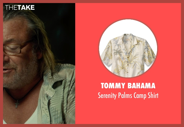 Tommy Bahama green shirt from The Gunman seen with Ray Winstone (Stanley)