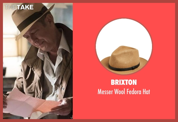Brixton beige hat from The Blacklist seen with Raymond 'Red' Reddington (James Spader)